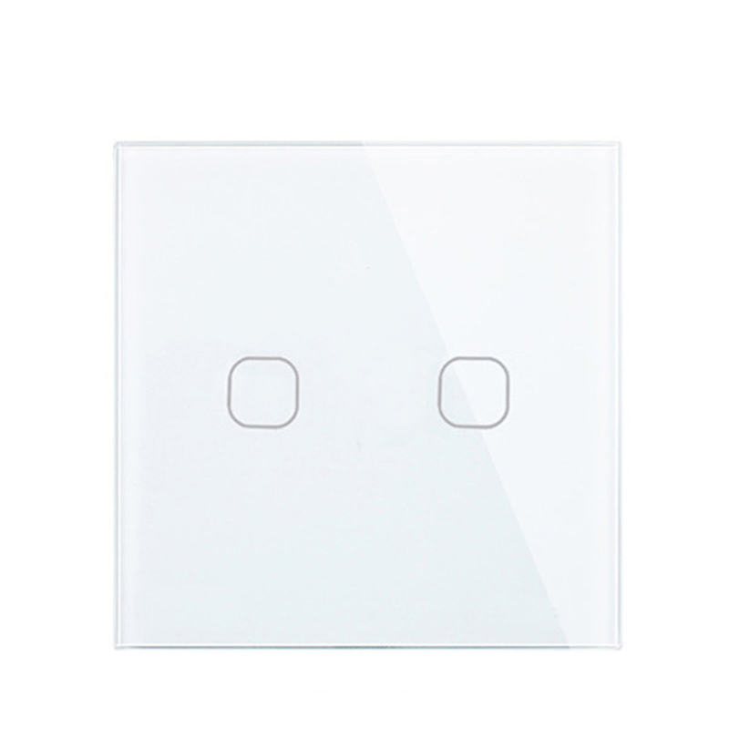 Touch Switch White Crystal Glass Panel AC220V 2Gang 1Way Light Wall Touch Screen Switch EU/UK EU/UK standard White Black Gold 2gang 2way white crystal toughened glass panel touch switch sensor light switch
