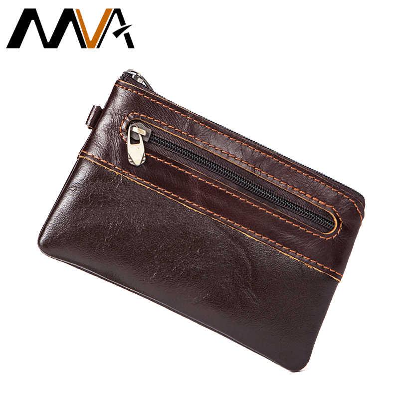 d9bb8a65f3e4 MVA из натуральной кожи Для мужчин Кошельки Мини кожаный бумажник портмоне  для карты Малый/тонкий