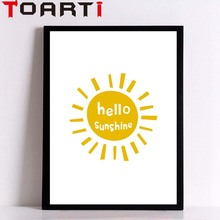 Hello Sunshine Wall Art Quote Poster Canvas Painting Prints Picture Modern Library Baby Room Decorations For Kids