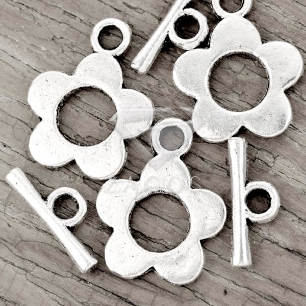 70Pcs Tibetan/Antique Silver Tone Flower Bar Ring Toggle Zinc Alloy Jewellry Making Findings Fit Bracelet Necklace TS1611