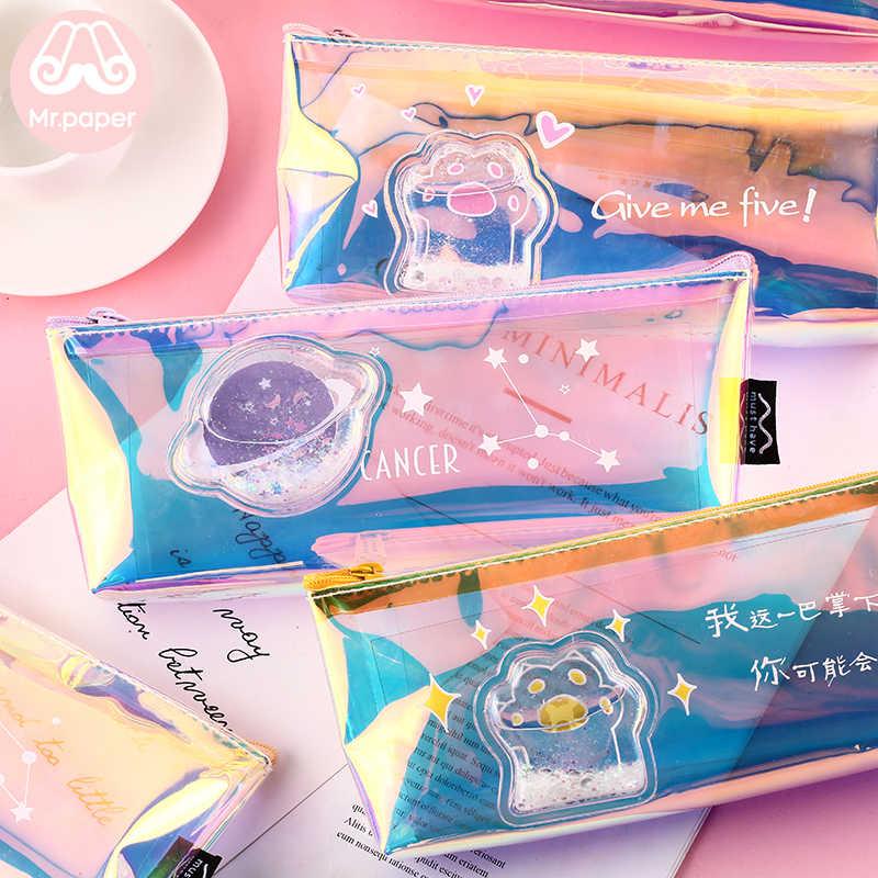 Mr. 紙 8 デザインかわいいピンク宇宙猫爪レーザー鉛筆バッグスクールケースクリエイティブ学生大サイズ鉛筆バッグ女の子