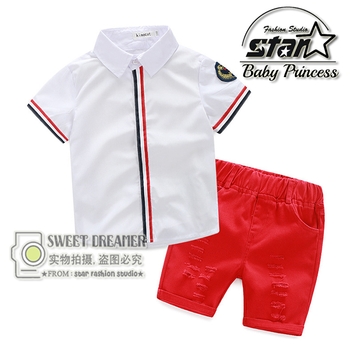 New Children Clothing Set Boys Casual Beach Set Solid T-shirt + Shorts 2 pcs for Summer Baby Set Kids Boy Clothing