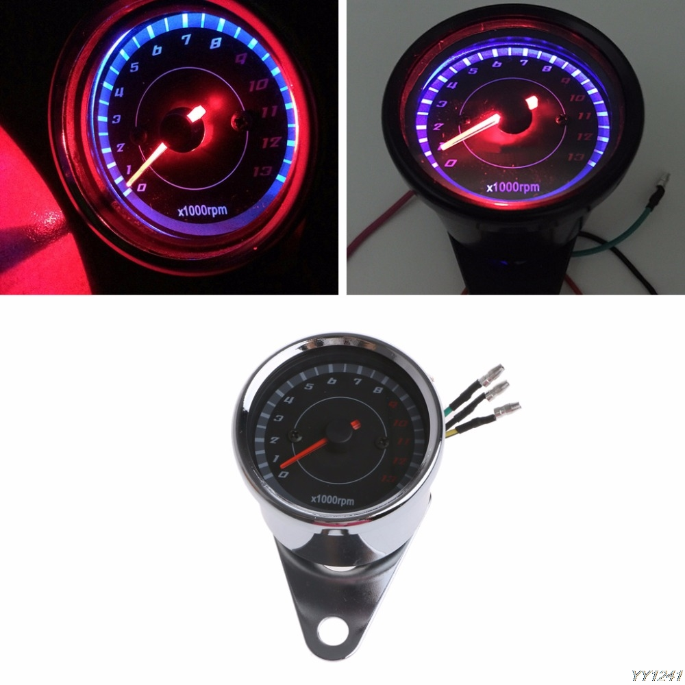Universal LED Motorcycle Tachometer DC 12V Meter 13K RPM For Honda Yamaha Suzuki Motorcycle Instruments