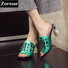 Summer Woman Shoes Luxury rhinestone High heels sandals women Slides slippers 2017 NEW Genuine leather womens casual beach shoes
