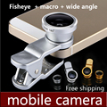 Para iphone 5s para xiaomi lente ojo de pez 3 en 1 lentes de cámara del teléfono móvil lente gran + macro + ojo de pez universal para samsung para iphone 7