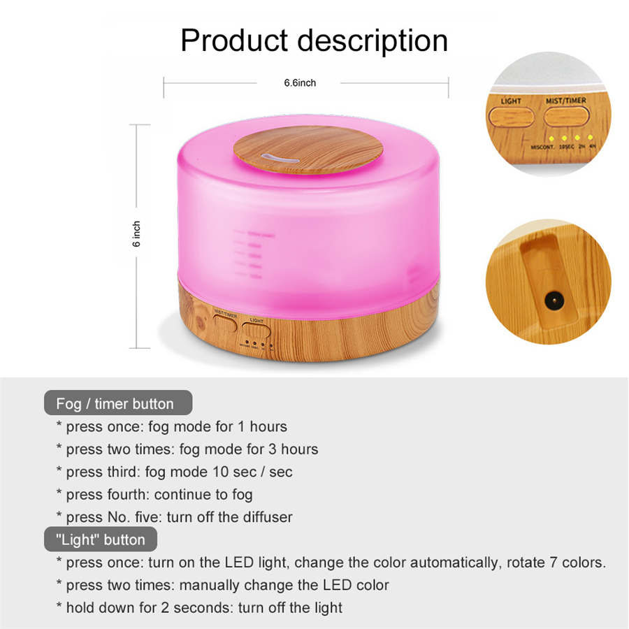 500ml Essential Oil Diffuser Humidifier Ultrasonic Electric Air Humidificador With 7 Colors LED Lamp Aromatherapy Remote Control
