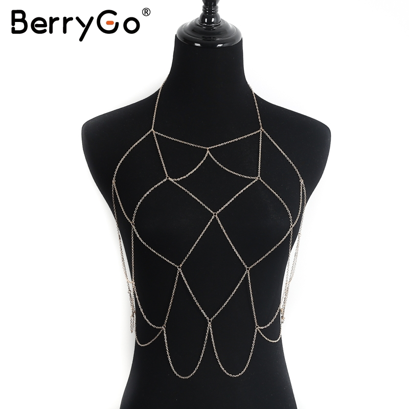 BerryGo Sexy lattice hollow out accessories Summer beach party gold accessories Evening club women accessories