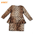VICVIK Brand Girls Dress Long Sleeve Leopard for Party Baby Girl Elegant Wear Children Clothing Kids Fake Two Pieces
