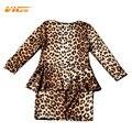 VICVIK Marca Niñas Vestido de Manga Larga Leopard para el Partido Baby Girl Elegant Wear Ropa Niños Niños Falso de Dos Piezas