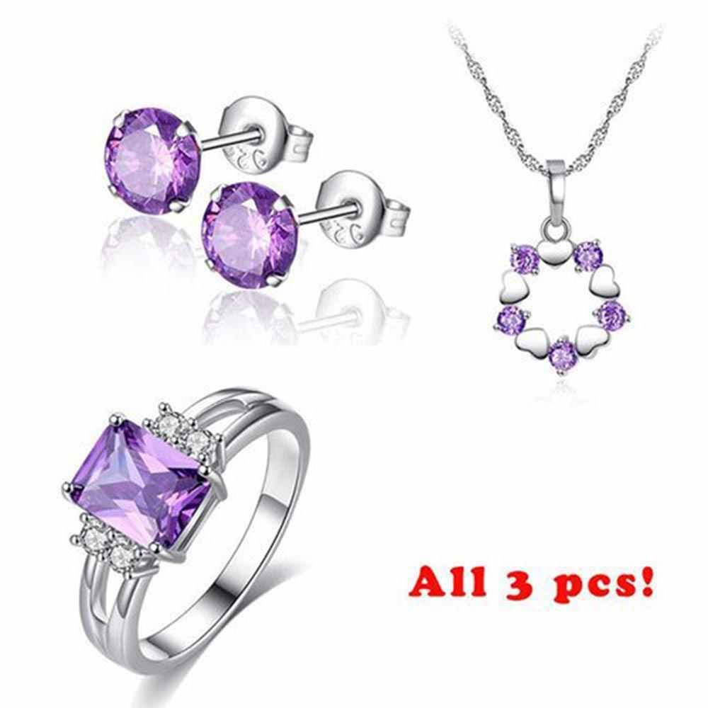 Beiver Fashion Jewelry Sets for Women Purple AAA+ Cubic Zircon Necklace + Earring + Ring Female Bijoux