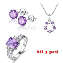 Beiver Fashion Jewelry Sets for Women Purple AAA+ Cubic Zircon Necklace + Earring + Ring Female Bijoux цена 2017