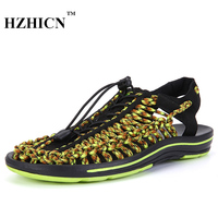 Men Sandals Summer Slippers New Breathable Handmade Shoes Beach Casual Flats Famous Brand Designer Zapatos Hombre HZHICN