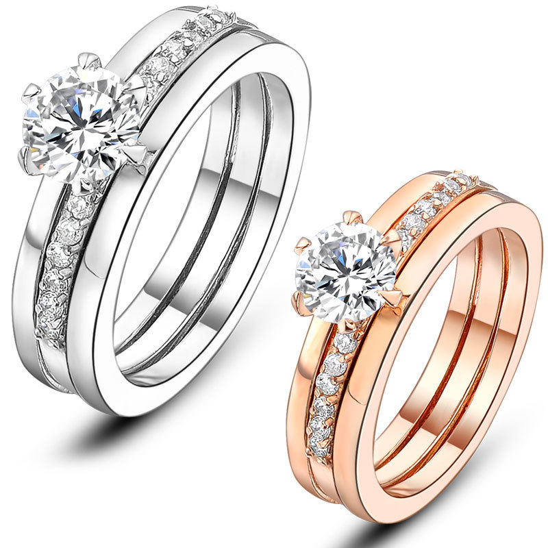 mytys two in one ring set bridal set wedding couple band rings double rings engagement gold gp r813 r814 - The One Ring Wedding Band