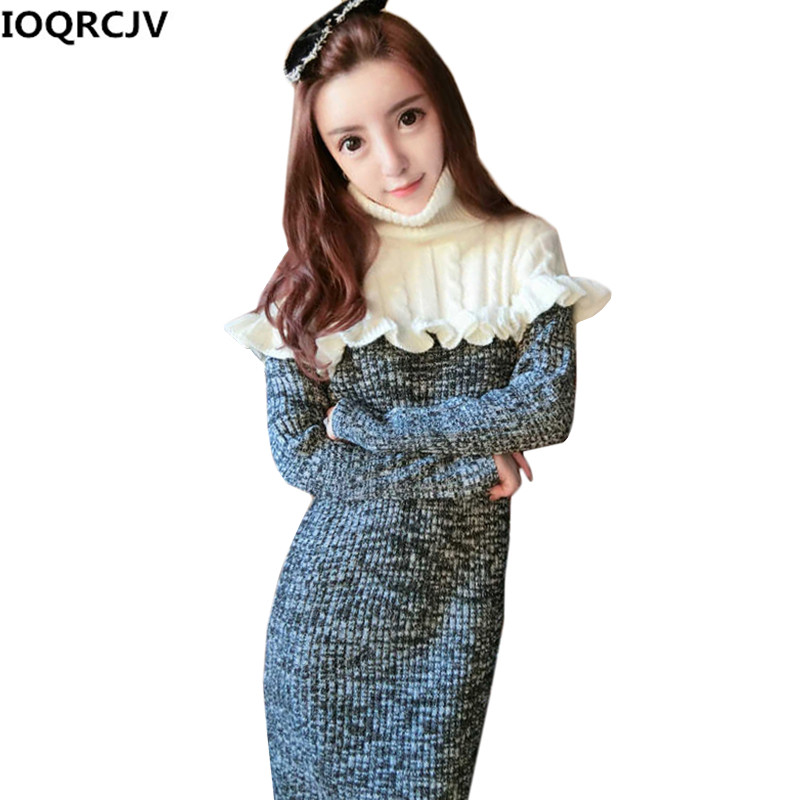 Winter Women Turtleneck Sweater Dress New Fashion Lotus Leaf Stitching Long-sleeved Warm Pullover Knitted Sweater Dress Women women turtleneck front pocket sweater dress
