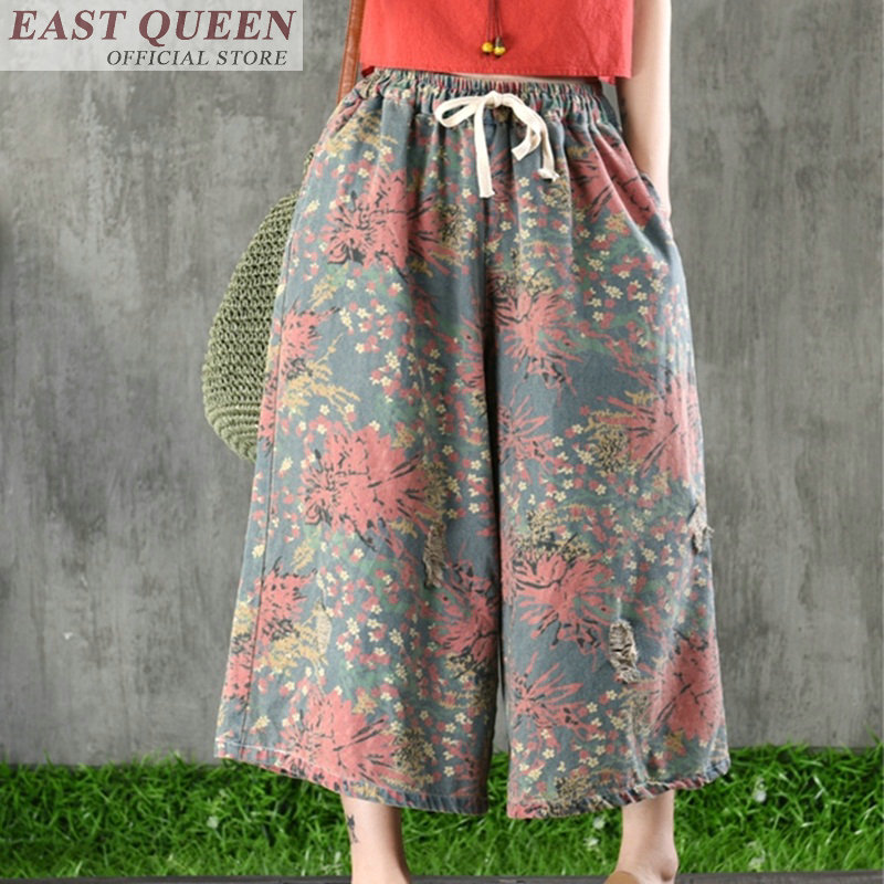 Traditional chinses clothing for women wide leg pants online chinese store retro floral print loose elastic trousers FF622 A