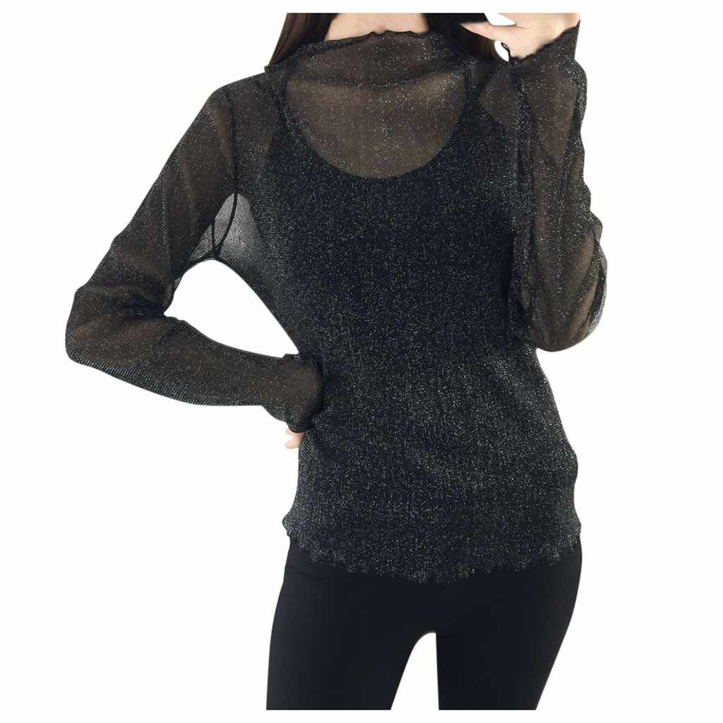 2019 T-shirt Vrouwen Lange Mouw Crop Perspectief Hollow Out Lace T-shirt Tops Camiseta Mujer Top Vrouwen Harajuku T-shirt Camisas