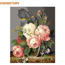 CHENISTORY Beautiful Pink Flower Diy Painting By Numbers Kits Canvas Paint Modern Home Wall Art Picture For Living Room Artwork(China)