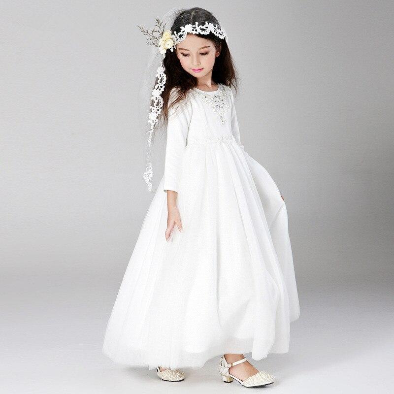 rep simple eleghant long fancy girl dresses child white christmas flower girl vestidos kids clothes 4 6 8 10 12 14 years 165003 in dresses from mother - White Christmas Dress