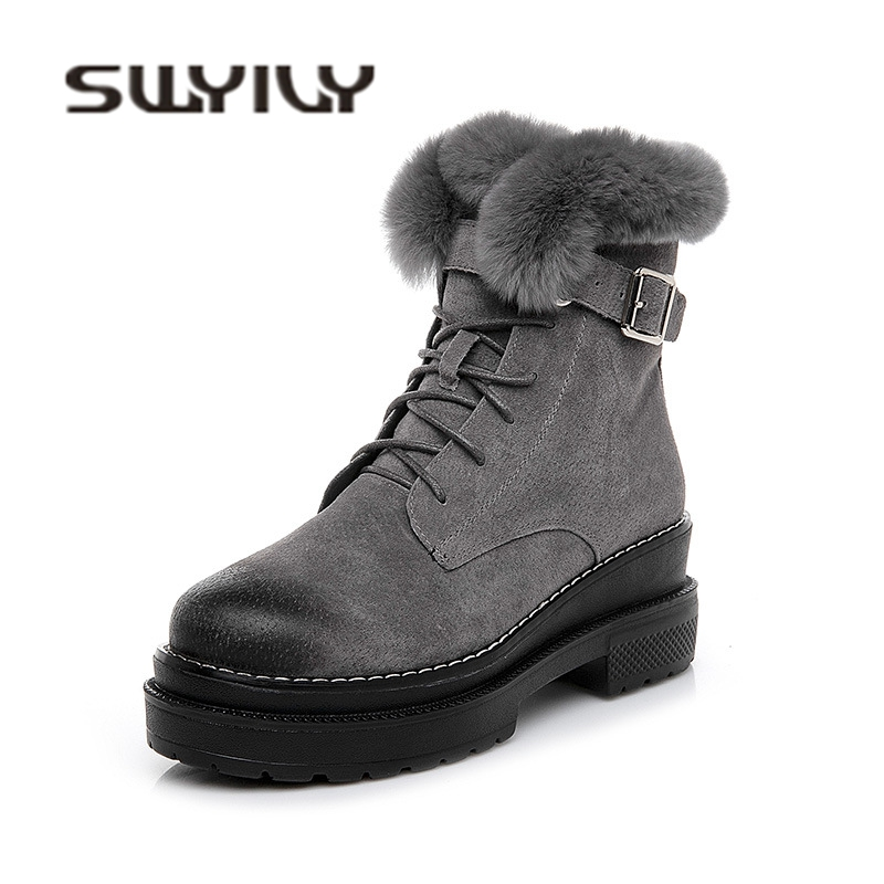 SWYIVY High Top Ankle Boots Woman Rabbit Fur 2018 Winter Quality Genuine Leather Female Fahsion Snow