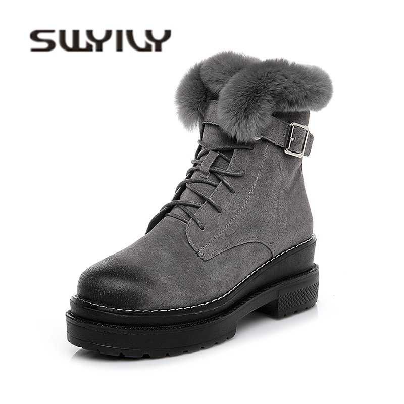 SWYIVY High Top Ankle Boots Woman Rabbit Fur 2018 Winter Quality Genuine Leather Female Fahsion Snow Boots Platform Winter Shoes