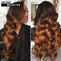 10a mink queen tecer 4 pacotes malaio onda do corpo do cabelo virgem ombre extensão do cabelo t1b/30 cabelo malaio tecelagem estilo natural