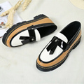 Women shoes mixed colors platform shoes butterfly-knot sapato feminino khaki/black slip-on superstar shoes round toe zapatos