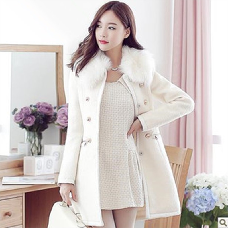 Qiu Dong Korean women's long section of the new long coat woolen coat Slim thick woolen coat