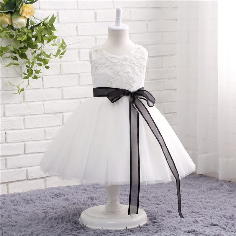 Fashion lace   dress   White Black Lace   flower     girl     dresses   2019 Vestido daminha Short   flower     girl     dress   Sexy children images