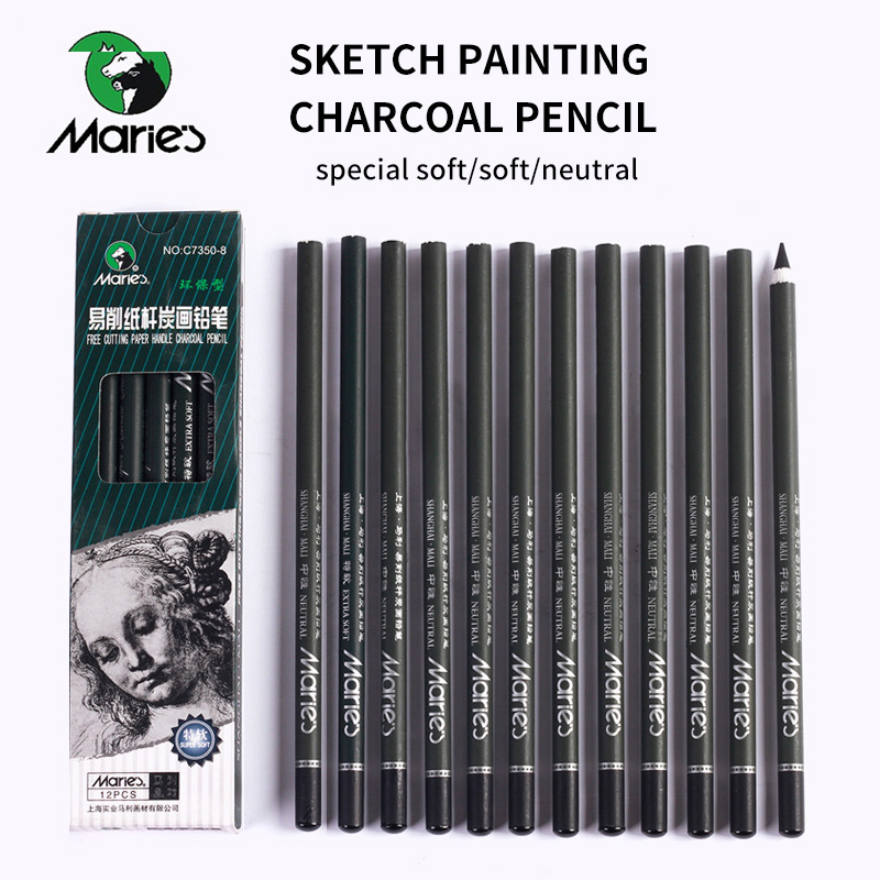Marie's 12pcs/set Charcoal Pencil For Painting Drawing Lapiz Set Student Stationery School Art Supplies Pencils for Students children stationery set includes pencil case sharpener drawing pen chess scissors students stationery set as a gift for kids