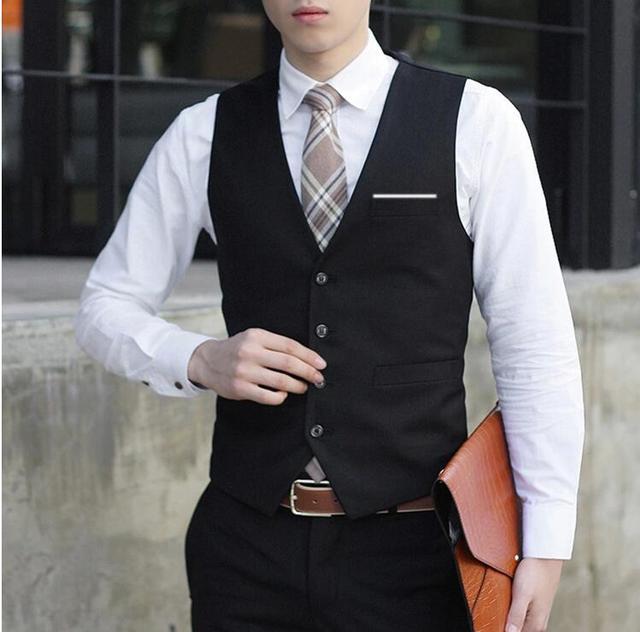 Padrinhos de casamento melhor mens masculino básico weskit colete slim fit terno colete moda blazer outerwear plus size preto XXXL MJ68