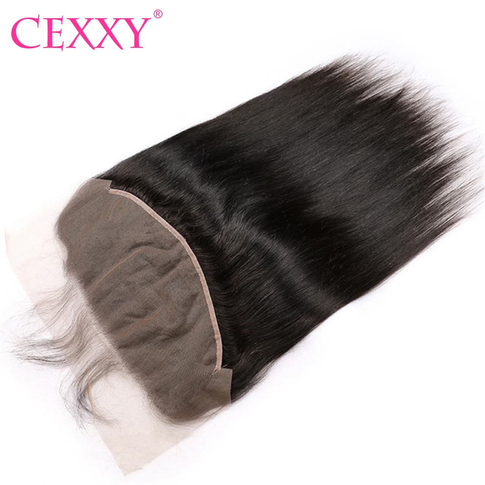 CEXXY 13x6 Lace Frontal Peruvian Straight Natural Hairline With Baby Hair Natural Color Swiss Lace Human
