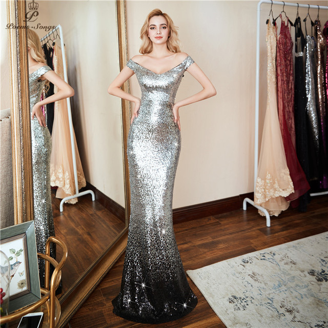 Poems Songs 2019 New Formal party  Elegant Evening Dress vestido de festa Sexy Luxury Silver Long Sequin robe longue prom gowns
