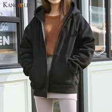 KANCOOLD coats Women Hooded Fleece Long Sleeve Loose Casual Jacket Coat Zip Pock