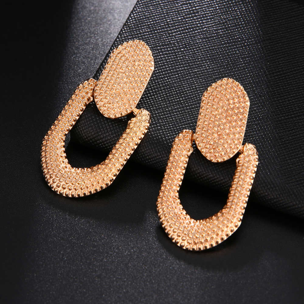 RscvonM ZA Statement Metal Drop Earrings Trendy Jewelry Elegant Big Geometric Dangle Pendant Earring For Women Mexed EARRINGS
