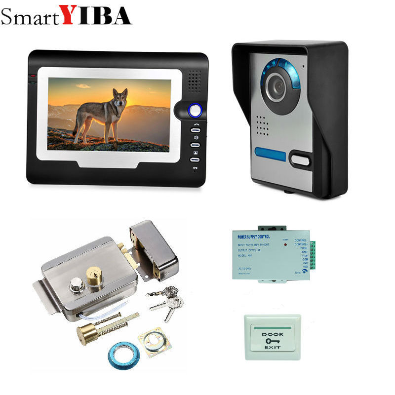SmartYIBA 7  Video Door Phone Doorbell Intercom Kit ,1x camera +1x monitor Night Vision HD camera,wired video doorbell