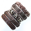 FL97-Punk bangles handmade brown ethnic genuine leather bracelet with star meta for men free shipping (5pcs/lot)