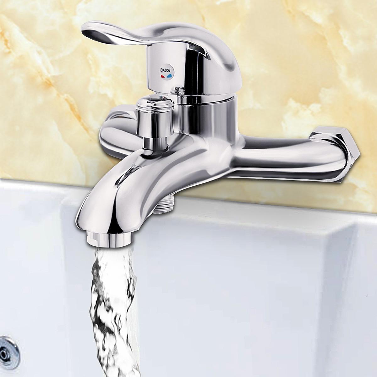 Xueqin cromo lucido parete bagno montato rubinetto vasca da bagno rubinetto miscelatore tap - Rubinetto a parete bagno ...