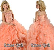 2016 Coral Ball Gown Little Girl's Pageant Gowns Spaghetti Beads Ruffles Party Dress Flower Girls' Dresses for Weddings FE61