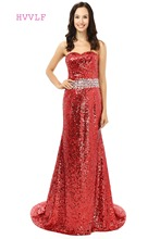 Burgundy Robe De Soiree 2017 Mermaid Sweetheart Sequins Crystals Sparkle Women Long Prom Dresses Prom Gown Evening Dress