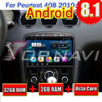 Auto PC Multimedia für Peugeot 408 2010 2011 2012 2013 Android 8.1 9 ''Topnavi GPS Navigation Auto Video KEINE DVD octa-Core-Spieler