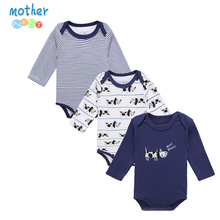 Mother Nest 2016 Fashion 3Pcs/lot Baby Romper Girl Boy Next Baby Clothing DOG Printed Baby Clothes Newborn Cotton Baby Rompers