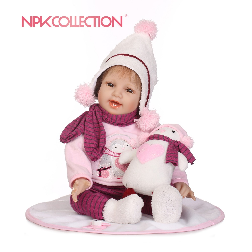 NPKCOLLECTION 55cm Vinyl Silicone Reborn Baby Doll kids Playmate For Girls boneca reborn Soft Toys For Bouquets Doll Bebe Reborn warkings reborn