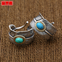 Rich Original Design 925 Silver Vintage Thai Silver Rings Men Rings Feather Ring Finger Ring Adjustable