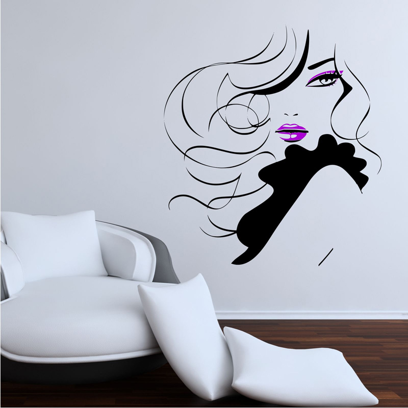 Pin Up Girl Women Modern Hair Salon Wall Sticker Decal Mural Transfer F796 ...