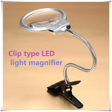 Diamond painting tool Lighted Magnifier Clip-on Table Top Desk LED Lamp Reading 2.5x 5x Large Lens Magnifying Glass with Clamp 90mm 2 led table magnifier lamp magnifier clip on desk table magnifying glass loup