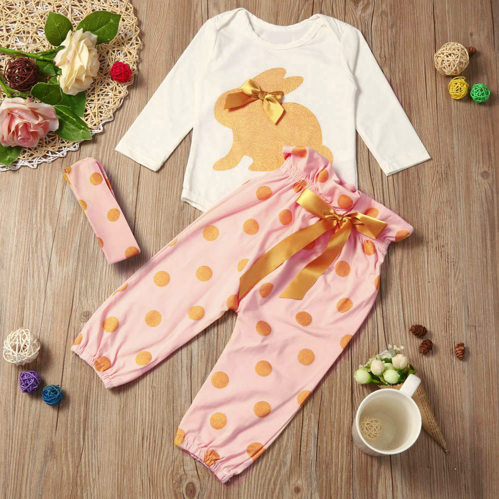 3PCS Set Cute Baby Girls Clothes 2017 Summer Newborn Infant Baby Boy Girl Romper Tops+Dot Pants+Headband Outfits Clothes Set