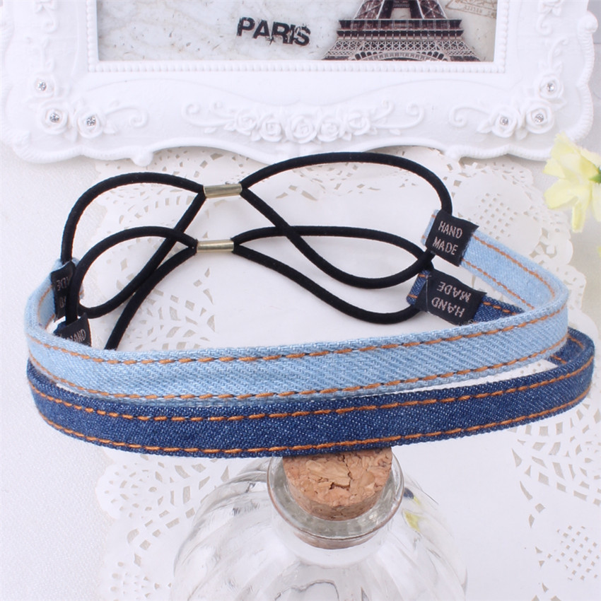 Denim Cowgirl Women Cross Elastic Hairband Headband Wrap Knotted Band Մազերի պարագաներ