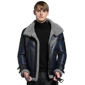 Image 2 - אופנה 100% איכות אמיתי כבש פרווה גברים מעיל Genuine מלא פלט כבשים Shearling זכר חורף מעיל חום גברים פרווה להאריך ימים יותר