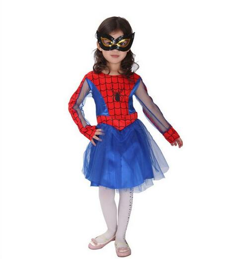 Children's Performing Spiderman costume cosplay costumes children dress skirt for girls N982