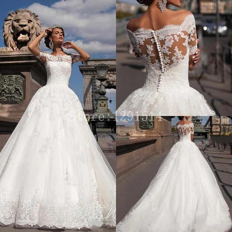 Vestido De Noiva 2017 New Elegant Lace Applique Tulle: Vintage Cheap Wedding Dress 2017 New Vintage Short Sleeve